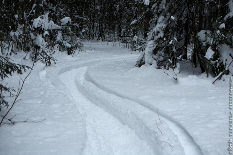В планах было снять красивый вид с горы на терриконы, куда мы и отправились. Однако по дороге должен был быть заброшенный пионерлагерь. Я не мог пропустить это место и отправился пешком по следам снегохода.