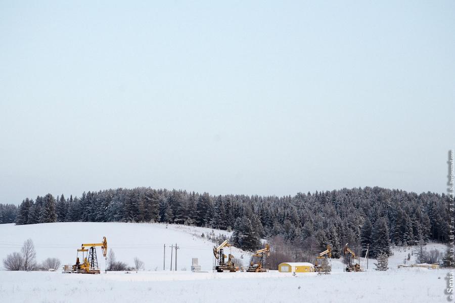 Как и в Татарстане, вдоль дорог стоят нефтяные качалки. Встречаются так же часто, как и коровы в Астраханской области, только дорогу не перебегают.