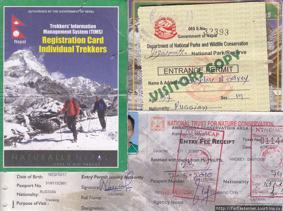 Регистрационная карточка трекера TIMS и пермиты в парки Аннапурна и Сагармата.