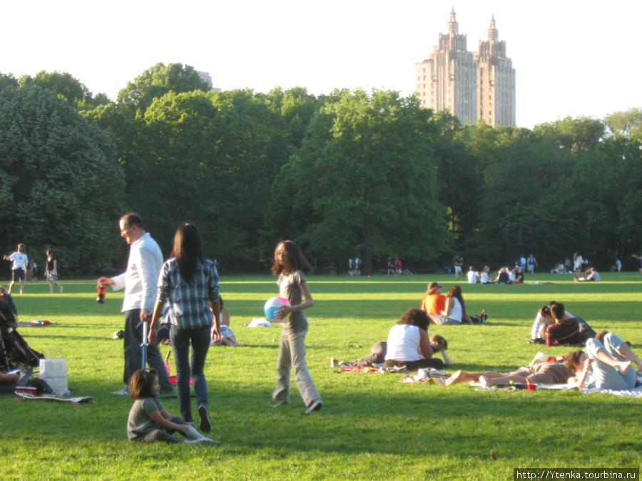 Central Park в воскресенье полон народу.