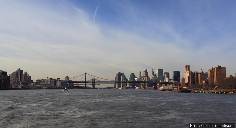 Вид с Ист Ривер на Бруклин, Манхэттен и мосты