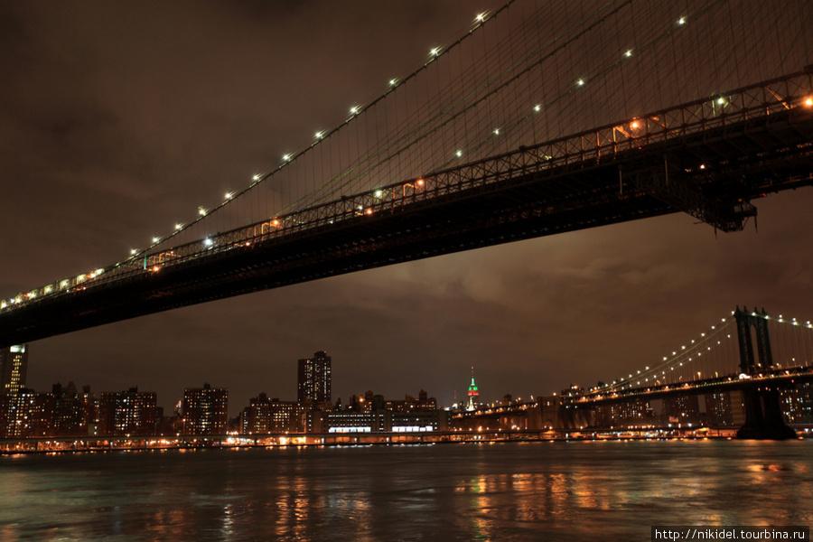 Пролет Бруклинского моста ночью