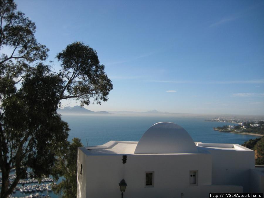 Вид на море и бухту в городке Сиди-Бу-Саид. Красивейшее предместье столицы. Бело-голубые дома.