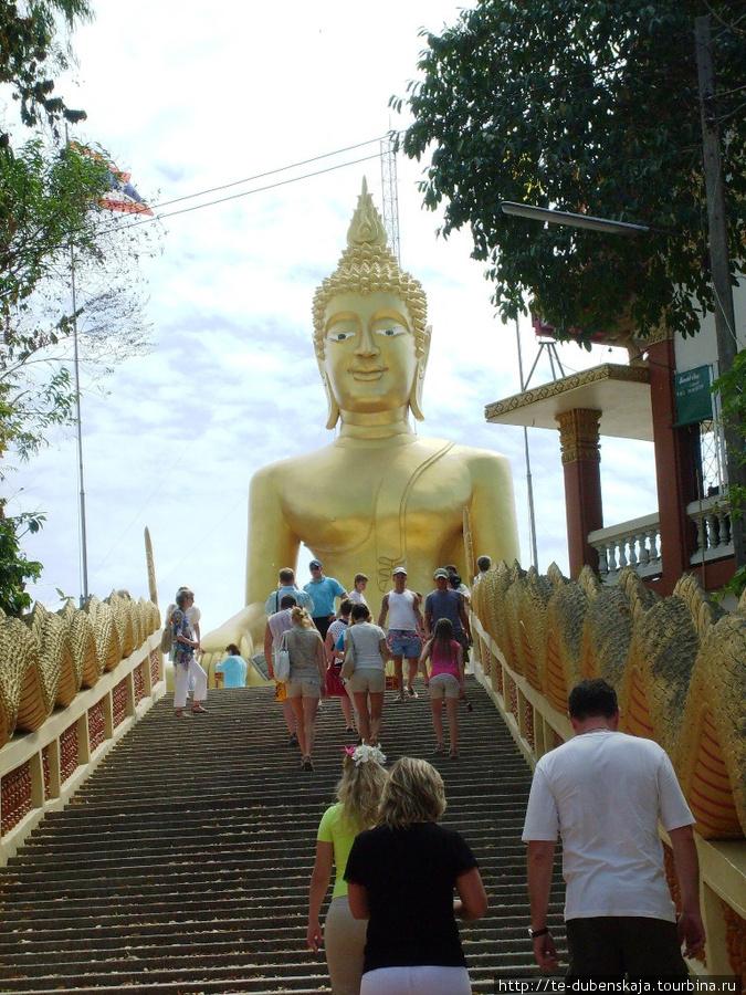на обзорной экскурсии: по лестнице к Золотому Будде.