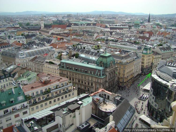 Вид на площадь Грабен с башни Св.Штефана. По стрелке налево около тридцати метров.