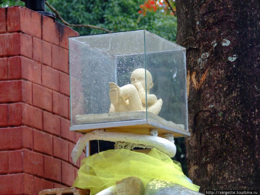 Рядом   стеклянный куб с младенцем. я так понял что это какой то модернистский символ Палавана