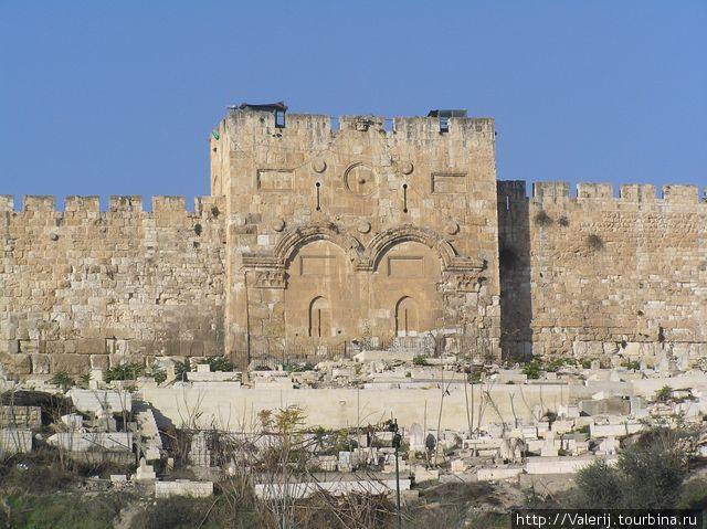 Ворота, через которые Иисус входил в Иерусалим. В настоящее время они заложены камнями (это сделали мусульмане, чтобы во время 2-ого пришествия Иисус не смог войти в эти ворота, как это было предсказано)