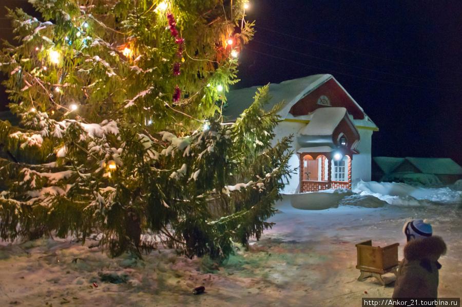Возле входа в Христорождественскую церковь установлена главная новогодняя городская елка-красавица.
