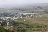 С высоты на долину, где расположен город Шемахэ