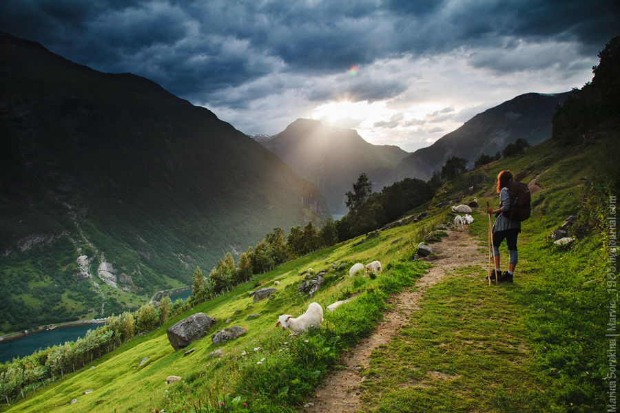 Прогулка по горам Гейрангер, Норвегия