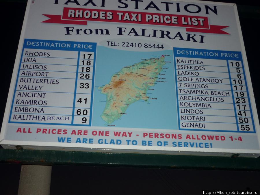 Цены на такси из города фалираки летом 2010 года