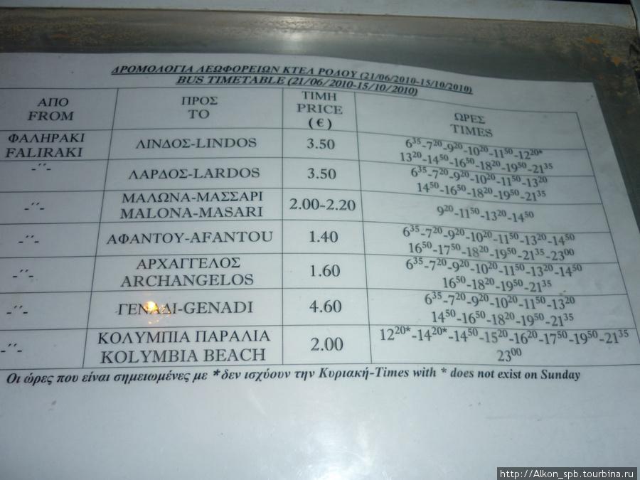 Расписание и цена автобуса. Такие у них практически на каждой остановке есть