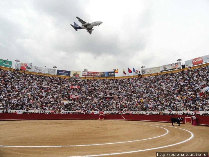 Самолет, пролетающий над стадионом