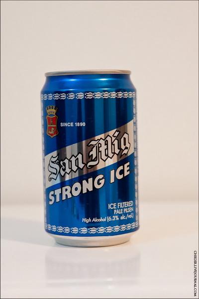 San Miguel Strong Ice Тип: Pale Pilsner Крепость: 6.5 % Стоимость: 35 песо Комментарий: довольно крепкое пиво. Водянистое. Не смотря на то, что я уже не очень трезв, смело скажу, что пиво паршивое Рейтинг: 4
