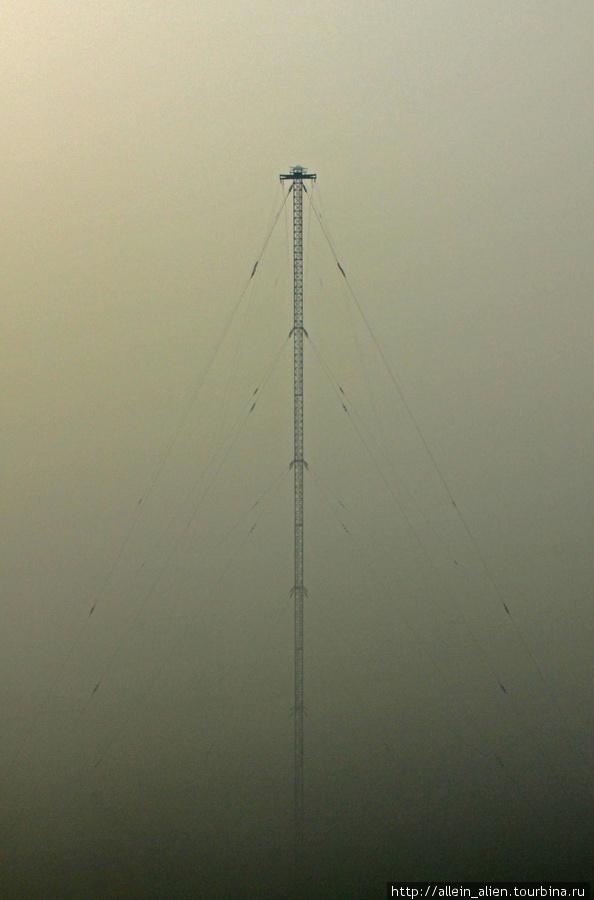 Даже во время летних лесных пожаров 200-метровая вышка виднеется и манит любопытных.
