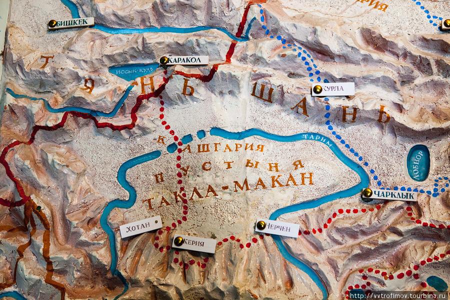 Фрагмент маршрутов Пржевальского