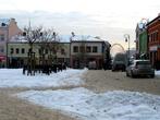 г. Хшанув, Польша. Площадь Рынок рано утром на рассвете
