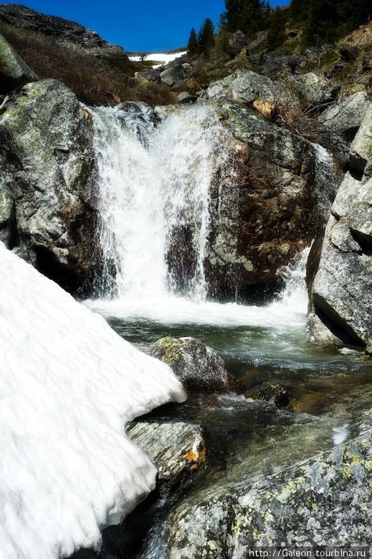 Один из водопадов окруженный снежной шапкой
