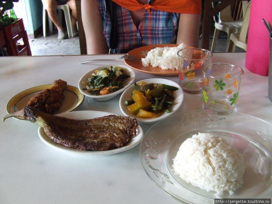 Рыба , баклажан, рис
