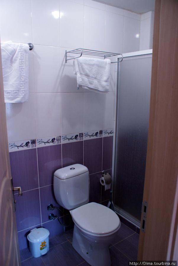 Туалет и душевая кабина. Есть фен, привинченный к стене
