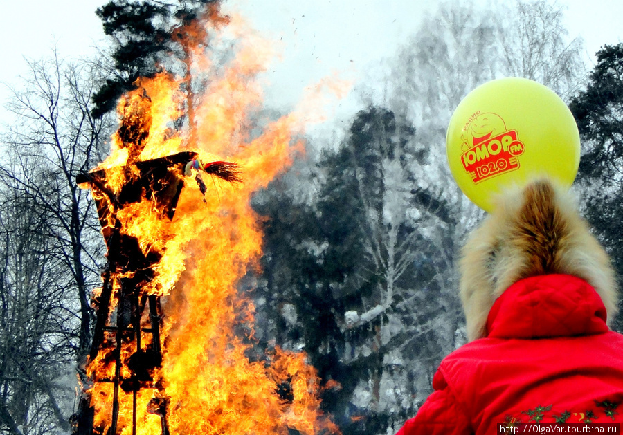 Пламя вспыхнуло мгновенно, устремившись вверх, и быстро поглотило тряпичное одеяние чучела