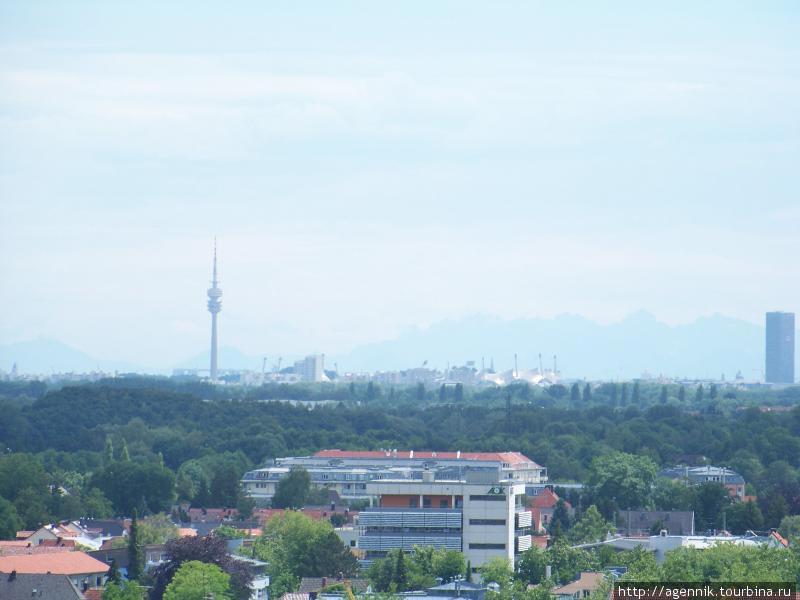 Олимпиумпарк, телебашня и Альпы — с крепостной стены Дахау