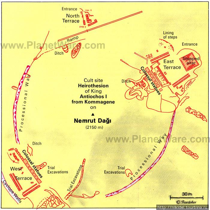карта святилища на горе Немрут