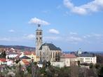 Вид на собор св. Якуба от собора св. Варвары и Иезуитского колледжа.