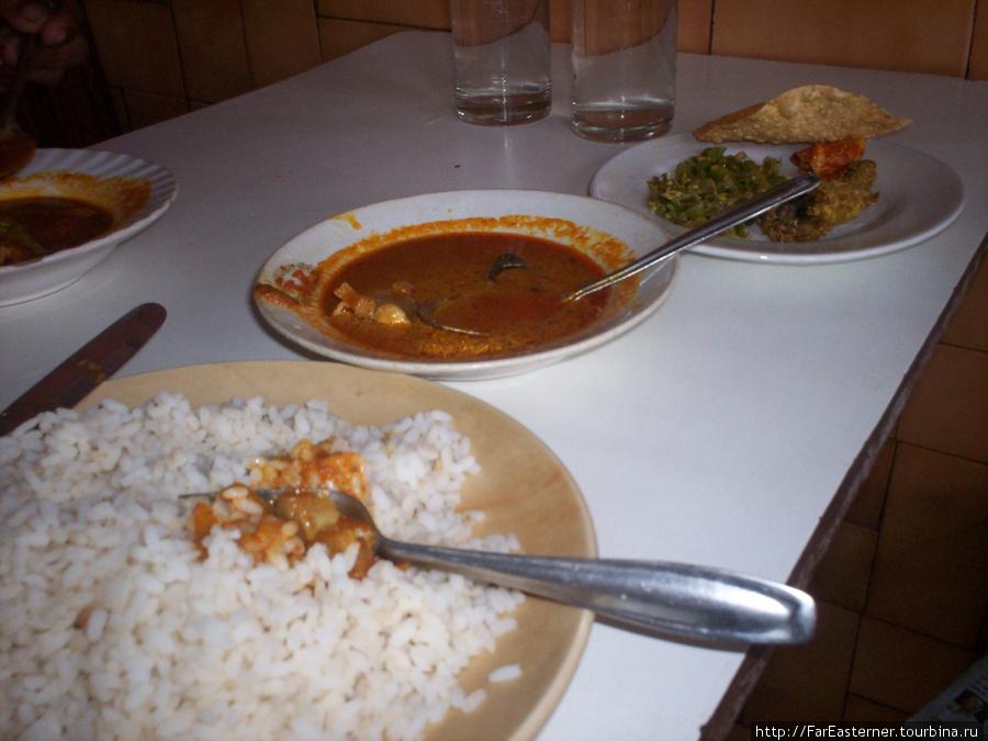 Рис, рыбное карри, рыбка дада с пикулями и листом паппадама.