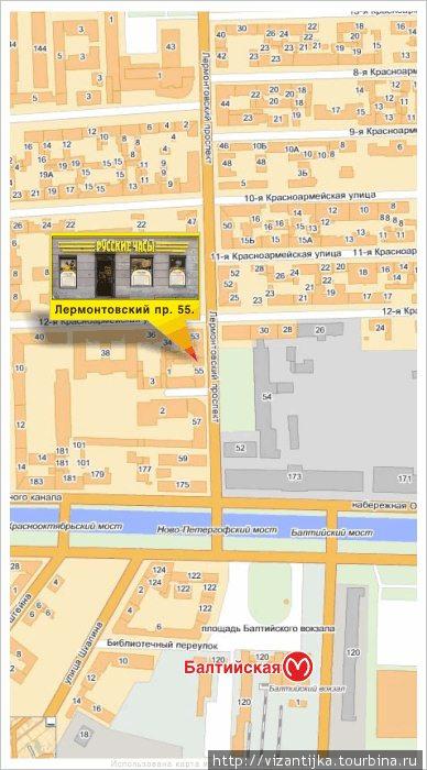 Схема проезда на Лермонтовский проспект, д.55