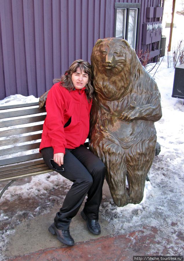Можно посидеть в обнимку с медведем. Правда при температуре ниже 10 мороза как-то не уютно. Парк-Сити, Соединенные Штаты Америки