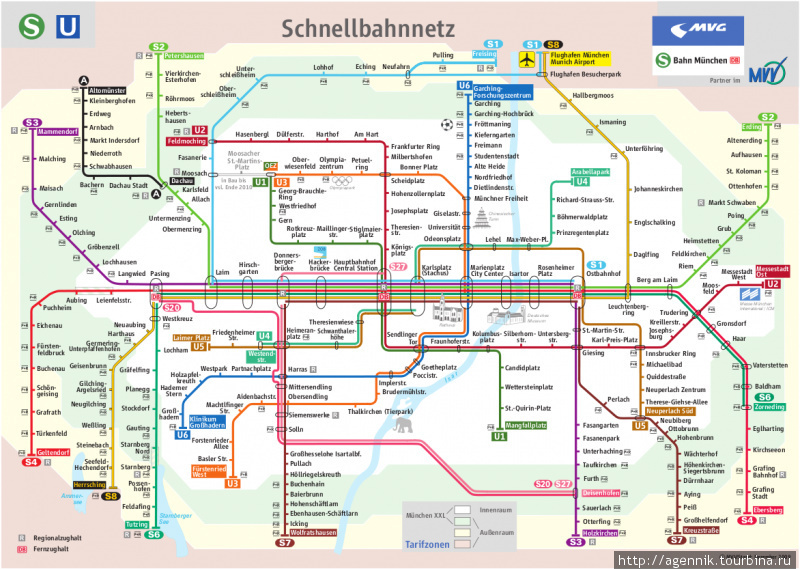 Схема линий S-Bahn и U-Bahn Мюнхена