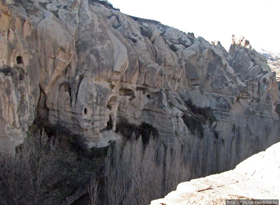 На скале видны искусственные ниши для голубей.