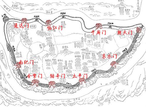 Схема городских ворот г. Чунцина