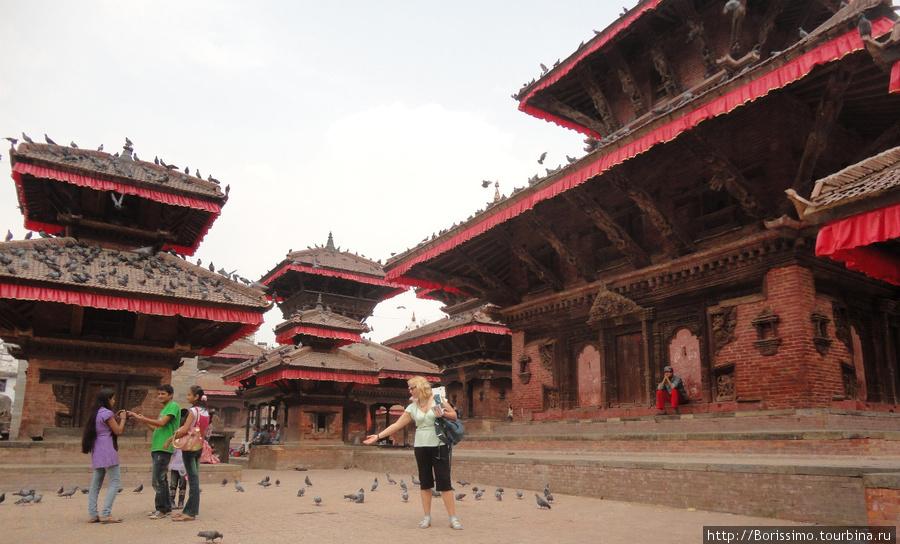 Дворцовая площадь Катманду изобилует пагодами, туристами и ... голубями.