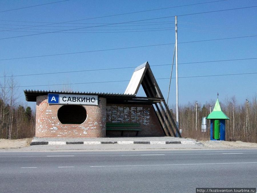 В Савкино все как надо: и крупная надпись, и зеленый домик для неотложных нужд.