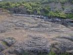поверхность земли представляет собой красивые разводы застывшей лавы, а под вами течет река, которая потом каскадами прямо с горы падает в Хвалву.