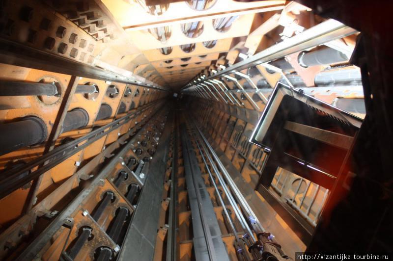Шахта лифта. Вид сквозь стеклянный потолок.