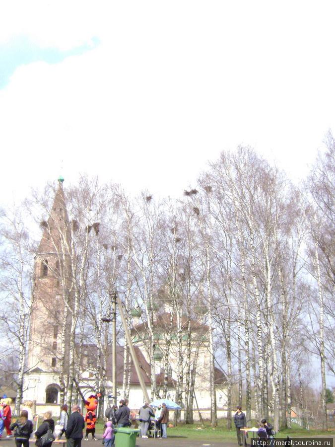 Весенний пейзаж возле церкви Воскресения Христова в селе Вятском напоминает сюжет картины художника-передвижника Алексея Савросова «Грачи прилетели» (1871 год)