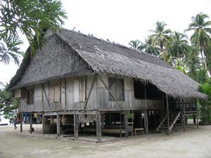 В таких домах, покрытых почти соломой, живут местные люди