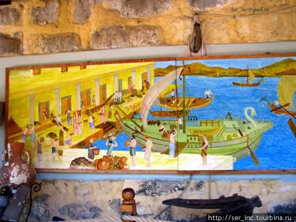 Панно в крепости-морская жизнь в Галикарнасе