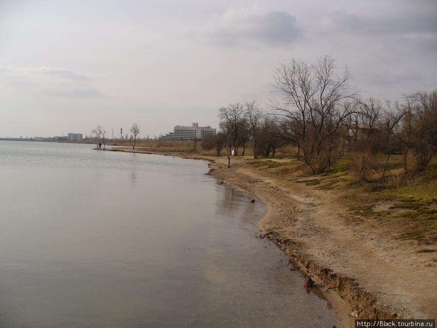 Путь по берегу озеру к скульптурам бронтозавров