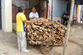 Торговец дровами. Топят вряд ли. Наверняка готовят на дровах.