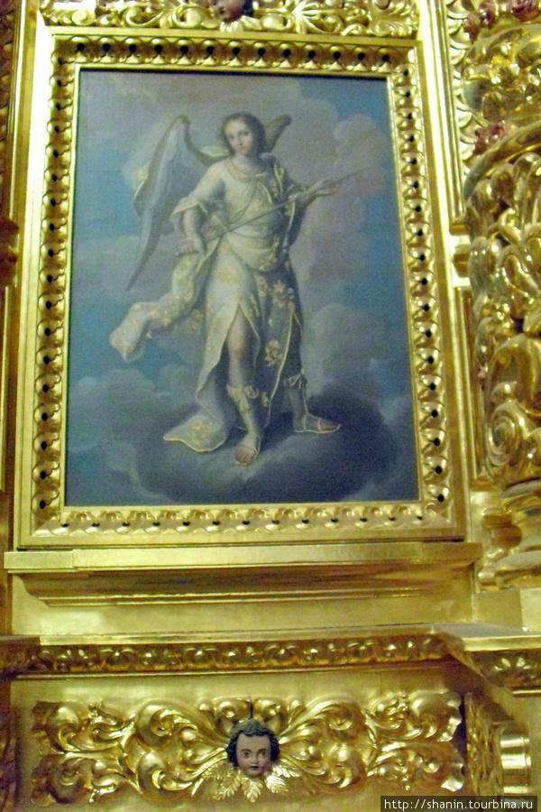 Картина в церкви на стене Оахака, Мексика
