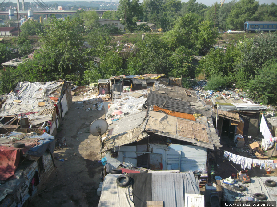 Самопоселение цыган-беженцев под мостом