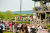 Конкурс шляп. Присмотритесь над спиной коня на нижнем этаже здания стоят победительницы в своих шляпах.