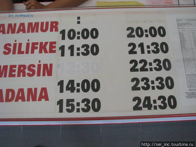 Расписание автобусов на восток от Алании компании Akdeniz