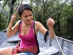 Женя поймала первую пиранью
