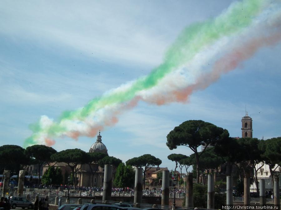 Нам повезло совершенно случайно. В день нашего пребывания в Риме — происходило празднование юбилея дня объединения Италии.