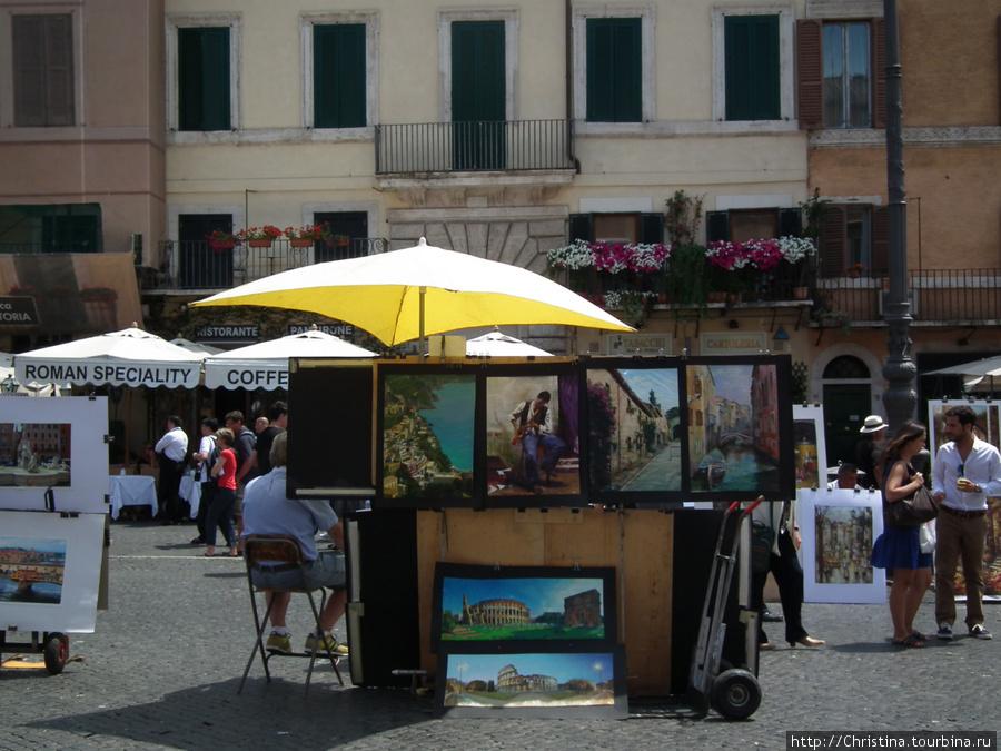 Площадь Навона. Живопись для туристов.